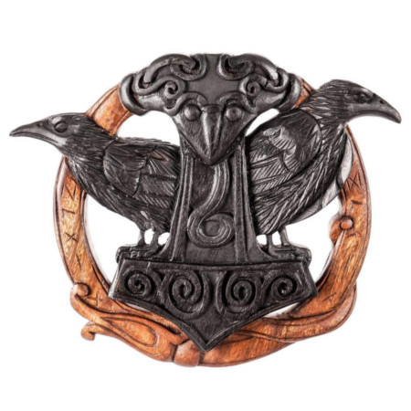Wandrelief aus Holz - Raben mit Runen & Thors Hammer